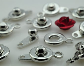 50 Sets of Antique Silver plated Copper button clasps , Snap Clasp in 7mm wideX 14mm length
