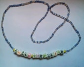 "Handmade Blue Beaded with Multi-Color ""Chalk The Police"" Letter Beads 25 inch Necklace"