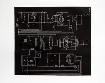 Schematics 3, Black and White Linocut Print (Proof), 2011