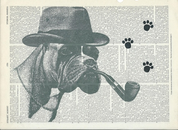 Book Print Detective Boxer Dog on Vintage Upcycle Book Print Art Print Dictionary Print Collage Print