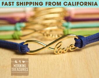 Bracelet, Love Bracelet, Infinity Bracelet, Infinity Love Bracelet, Single Suede Infinity Love Bracelet, Friendship Bracelet - 376