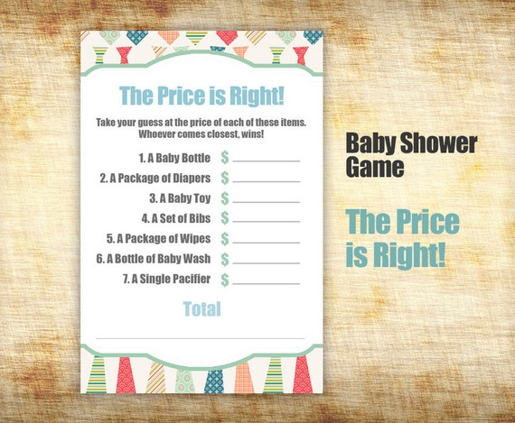 Items similar to baby shower game baby shower price is for Price is right bridal shower game template