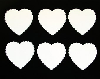 Set of White Scallop Hearts die cuts /  card-stock paper/ size 2 3/4 inch