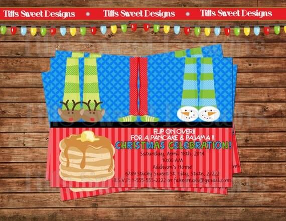 Christmas holiday pancake and pajama party invitation sleep over