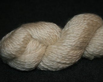 Leicester Longwool, handspun yarn, natural white, 2 ply, worsted weight, (9 - 10 w.p.i.), 200 yards.