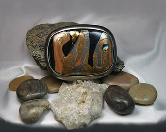 Sophisticated Dichroic Fused Glass Belt Buckle with Snap On Leather Belt