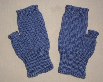 Hand knit Fingerless Gloves - Blue