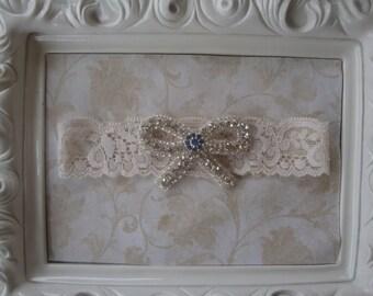 Wedding Garter - Bridal Garter - Toss Garter - Ivory Lace Garter with Rhinestone Bow