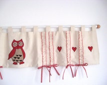 Heart owl gingham bows tab top ruffle window treatment curtain valance