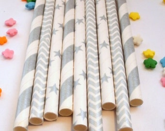 50 Shimmering Silver Metallic Paper Straws