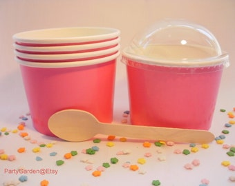 25 Hot Pink Ice Cream Cups - Medium 12 oz