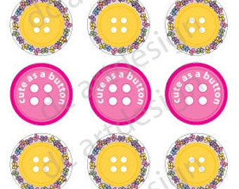All New Custom Designed Cute as a Button Bottle Cap Designs. High Resolution 4 x 6 .jpg file. Instant Download