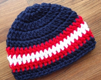 Crocheted Baby Boy Hat, Crocheted Baby Beanie, Dark Navy Blue with Red and White Stripes, Baby Shower Gift, Newborn to 5T - MADE TO ORDER