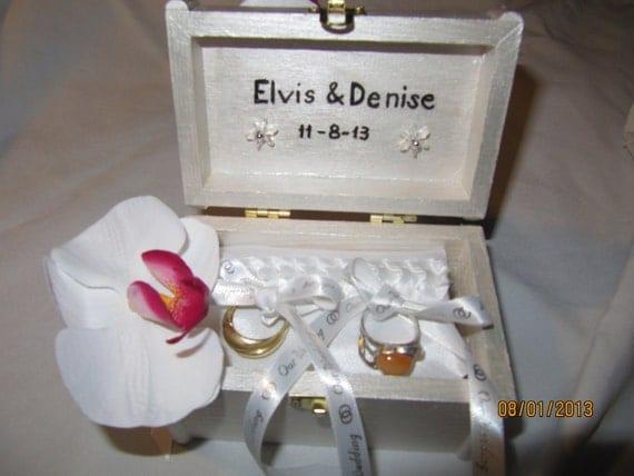 Shimmery White Wedding Ring Box Holder