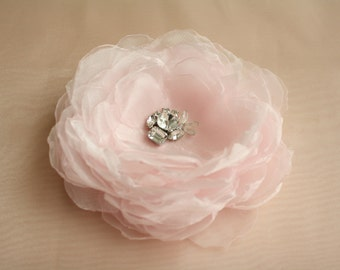 SALE! Bride Head Piece, Wedding Bride/Bridesmaid Pale Pink Flower Bloom Hair Accessory with Shiny Rhinestones and Beads