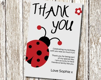 Ladybug Thank you card - Printable and Personalised