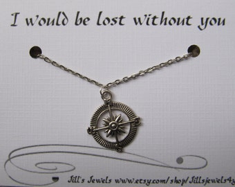 Best Friend Compass Necklace and Quote Inspirational Card- Bridesmaids Gift - Friendship Necklace - Friends Forever - Quote Gift