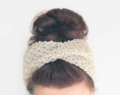 Cream Knit Headband, Chunky Knit Headwarmer, Knitted Turban Headband, Knit Headwrap, Knit Twist Headband -  Womens Accessory - Pick a Color