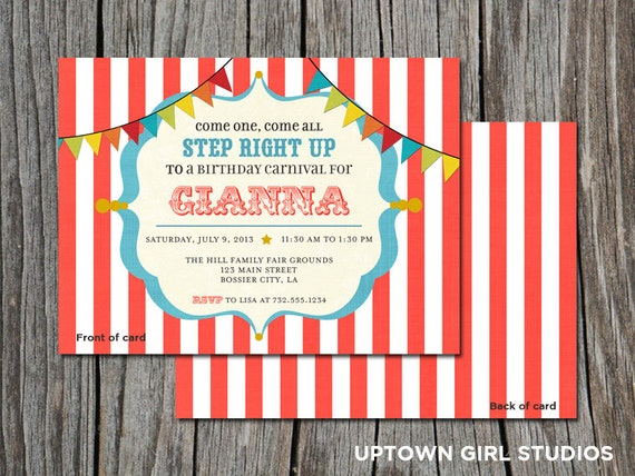 Carnival birthday invitation || Carnival Party || Kids birthday party || set of 25 5x7 cards