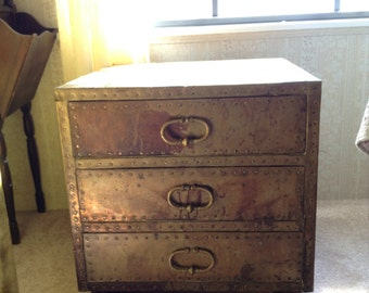 """Sarreid Spanish 1970's brass 3 drawer chest night stand end table 19"""" Hollywood Chic!"""
