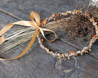 Rustic Bridal Crown, Burlap Berry Halo, Fall Wedding Halo, Stefana, Goddess Headband, Woodland Crown, Country Bride Halo, Orange Berry Halo