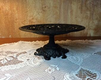 Art Nouveau Style Black Caste Iron Compote Dish