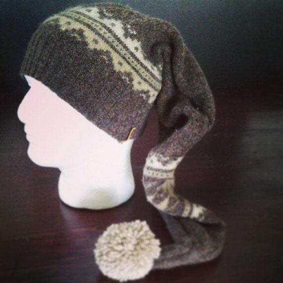 Brown knit pattern unisex stocking cap by RYLOwear on Etsy