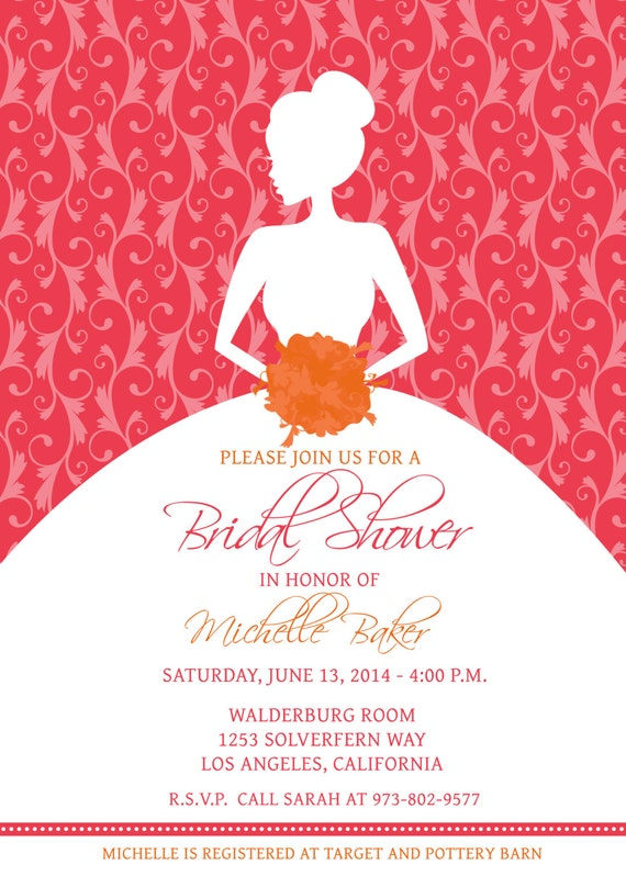 Edit Your Own With Photoshop   Printable Bridal Shower Invitation Template  Pink Tangerine Orange Silhouette Bride Wedding Shower   DOWNLOAD  Printable Bridal Shower Invites