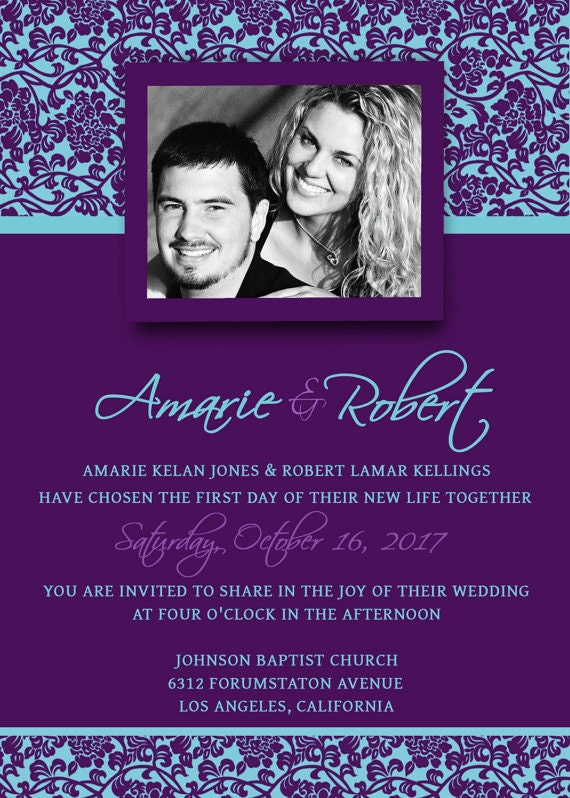 Printable Wedding Invitation Template PSD Photoshop - Violet Purple ...