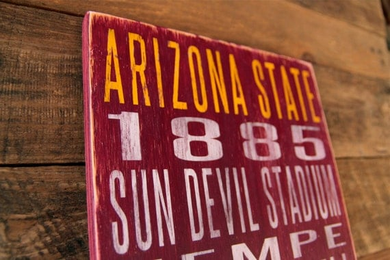Arizona State University Distressed Wood Sign--Great Father's Day Gift!