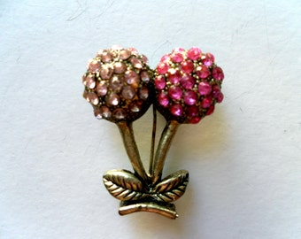 Vintage  Flower Duo of Pink Rhinestone Brooch