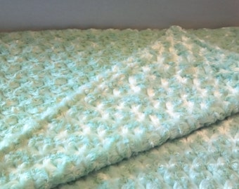 A mint green poodle fabric square blanket.