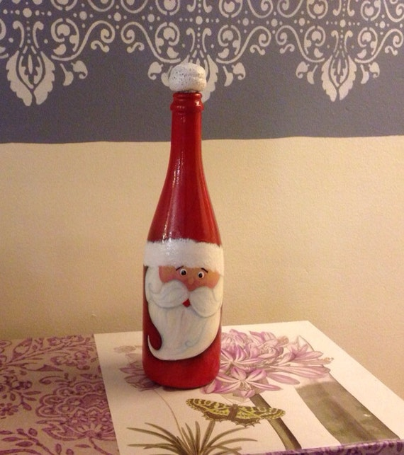 Christmas Hand Painted Santa S Wine Bottle Reclaimed