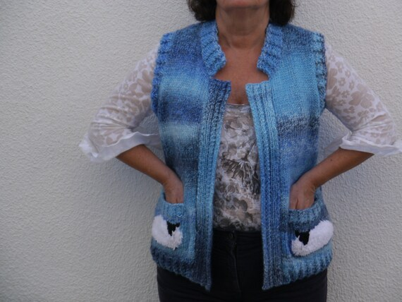 Owl Jumper Knitting Pattern : Ladies Sheep Waistcoat and Scarf Knitting Pattern, Waistcoat and Scarf Knitti...