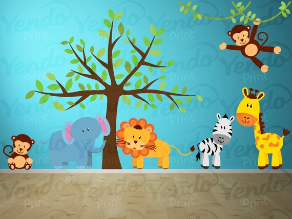 Jungle wall decals jungle animal decals kids room decals for Baby jungle mural