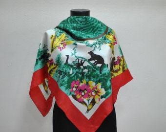 Vintage EXOTIC pattern scarf ...