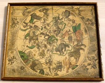 Vintage representation of a map of the hemisphere northern of the Celestial Vault by Andreas Cellarius Palatini