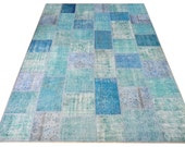 8x10 Ft (245x305 cm) - TURQUOISE Blue PATCHWORK Rug, Handmade from OVERDYED Vintage Turkish Carpets,Custom Sizes in 10 days, Free Shipping - WeMakeRugs