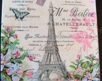 4 Decoupage Napkins | Eiffel Tower Paris | Paris Napkins | Eiffel Tower Napkins | French Napkins | Paper Napkins for Decoupage