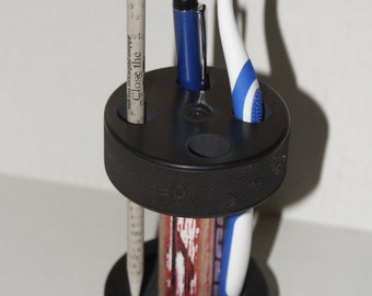 Hockey Puck and stick Pen,Pencil, toothbrush holder