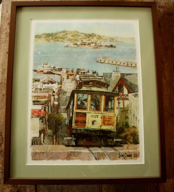 Vintage 1968 Don Davey San Francisco Print Framed