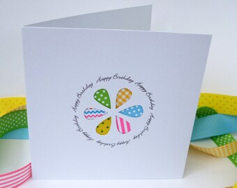 Handmade Birthday Card - Flower Greeting Card - Paper cut - Patchwork Flower