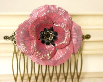 Hand painted pink poppy hair comb. Anemone brass bridal hair piece No. N53