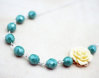 Vintage Style Assymetrical turquoise and yellow rose Necklace: No. N121