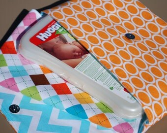 Orange with White Ovals - Grab 'N Go Diaper Bag with Changing Mat