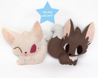 Fennec Fox kawaii plush sewing pattern bundle PDF - Easy sewing & embroidery DIY felt stuffed animal 6""