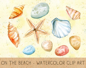 Summer Clipart, Digital Shells, Stones, Starfish, Sand, Repeatable Background, Watercolor Clipart