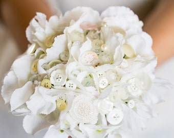 White flower and button bouquet, bride, bridesmaids or flower girls