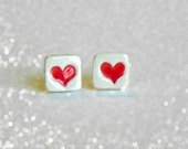 Valentine's Day Stud Earrings Red Heart Geometric Ceramic Hypoallergenic Posts