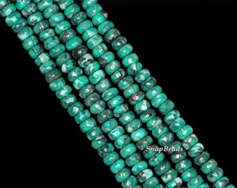 Green Tombolo Turquoise Gemstone Green Grade AAA Rondelle 4x2mm Loose Beads 16 inch Full Strand (90144342-164)